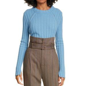 Equipment Alyce Wool Sweater Blue Ribbed Pullover